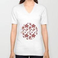 batik V-neck T-shirts featuring The Burgundy Batik Flowers by haidishabrina