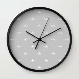 White Crown pattern on Light Grey background Wall Clock