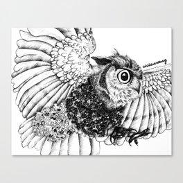 Black & White Zentangle Owl Pen Drawing Canvas Print
