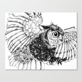 Black & White Zentangle Owl Pen Drawing Canvas Print