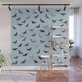 Pigeons Doing Pigeon Things Wall Mural
