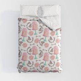 Rose pink coral flowers butterfly bohemian deer antlers Comforters