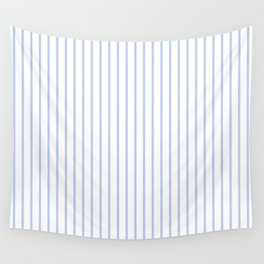 Alice Blue Pinstripe on White Wall Tapestry