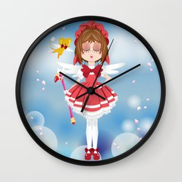 Mini Me Stars: Red Sakura Wall Clock