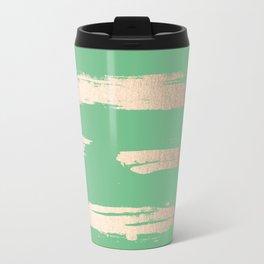 Abstract Paint Stripes Gold Tropical Green Travel Mug
