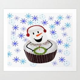 Marshmallow Cupcake Holiday Snowflakes Art Print
