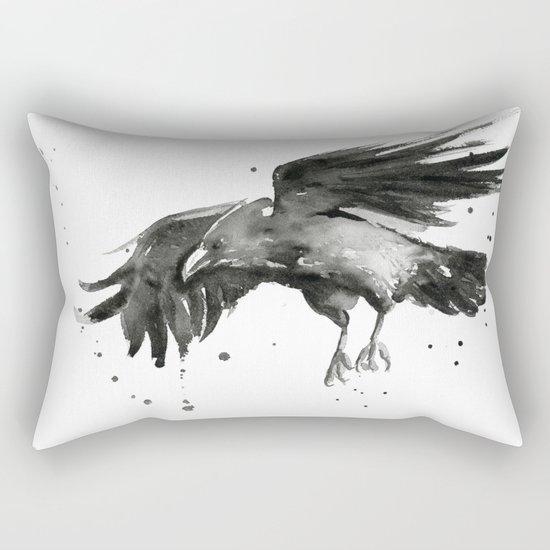 Raven Watercolor Bird Painting Black Animals Rectangular Pillow