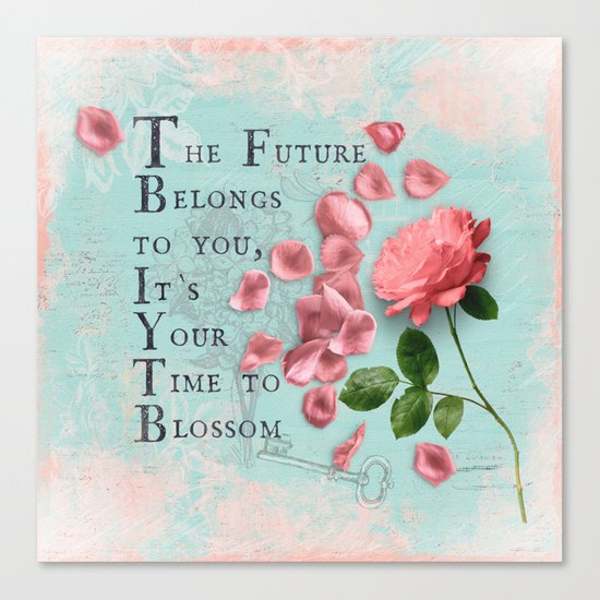 Future- Quote with Rose Flower- Floral Collage and Wisdom on turquoise background Canvas Print