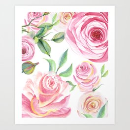 Roses Water Collage Art Print