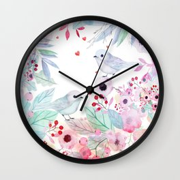 Lovebirds Wall Clock