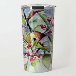 Branch With Blossoms Watercolor Travel Mug