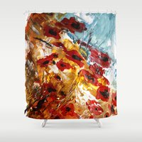 poppies Shower Curtains featuring Poppies by James Peart