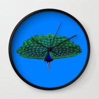 peacock Wall Clocks featuring Peacock by Whimsy Notions Designs