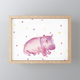 Pink Fiona Hippo Flower Painting Framed Mini Art Print