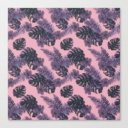 Pink Palm Leaves Canvas Print