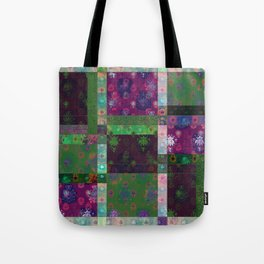 Lotus flower green and maroon stitched patchwork - woodblock print style pattern Tote Bag