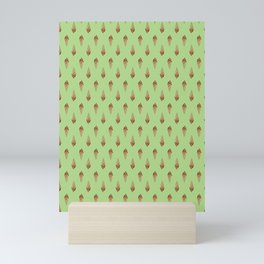 Sausage Dog Ice Cream Cone Pattern (green) Mini Art Print