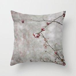 Rowan tree and snow Throw Pillow
