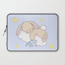Floppy Ears Woodland Baby Bunny Sleeping on Cloud in Starry Night Sky Laptop Sleeve