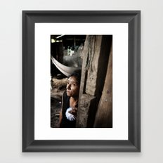 A Knock and the Bewildered Framed Art Print