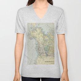 Vintage Map of Canada Unisex V-Neck