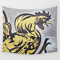 cock Wall Tapestries featuring Cock-a-Doodle-Doo  by Ethna Gillespie