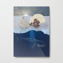 Inuit and Polar bear; Fishing. Full view. Metal Print