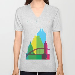 Shapes of Austin. Accurate to scale. Unisex V-Neck