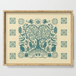 Rustic Early American Tree Of Life Woodcut Serving Tray