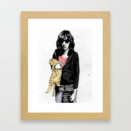 Cat and JoeyRamone Framed Art Print
