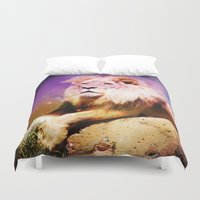 the lion king Duvet Covers featuring King Lion by SwanniePhotoArt