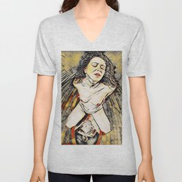 6151s-KD Red Lips in Mirror Erotic Art in the style of Wassily Kandinsky Unisex V-Neck