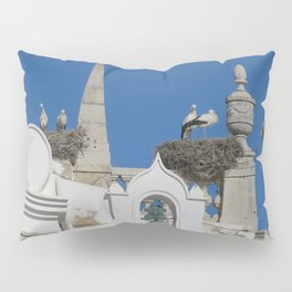 storks build nests on the church in the old town of faro, portugal, europe Pillow Sham