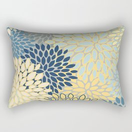 Floral Print, Yellow, Gray, Blue, Teal Rectangular Pillow