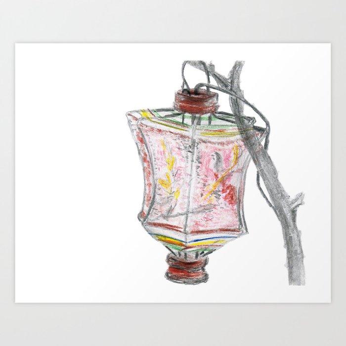 Antique Vintage Paper Lantern Drawing Art Print
