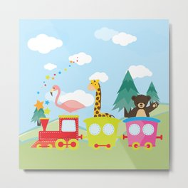 Animals Train , Nursery decor Metal Print
