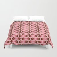 pigs Duvet Covers featuring Pigs in Mud by Roxie Rose Design
