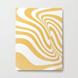 6-315-1, Yellow & White Messy stripes, Abstract fabric design, Boho decor, Metal Print
