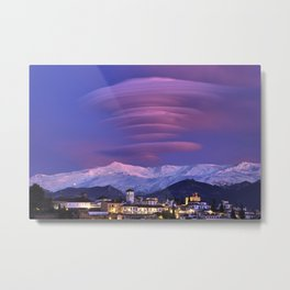 Lenticular clouds over Granada, The Alhambra, Albaicin village and Sierra Nevada. At sunset Metal Print