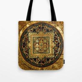 Gold Buddhist Psychedelic Mandala Tote Bag