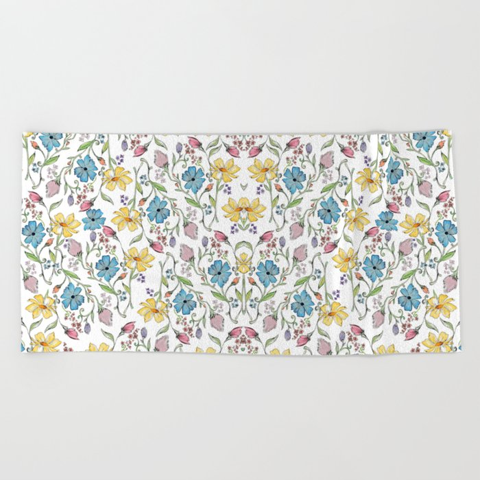 Spring flowers pattern - watercolor Beach Towel