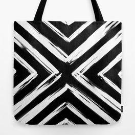 Minimalistic Black and White Paint Brush Triangle Diamond Pattern Tote Bag