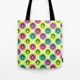 Penguins in colorful bubbles Tote Bag