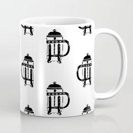 French Press linocut black and white pattern coffee art kitchen pattern art Coffee Mug
