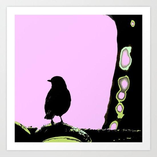 Spring mood - singing bird - black bird on a pink background Art Print