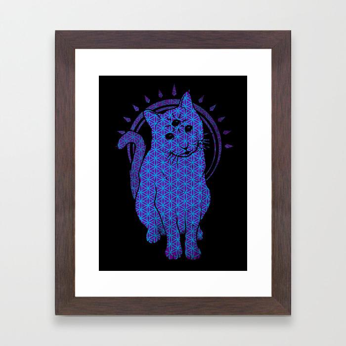 Trippy Cat 4 Framed Art Print By Biotwist Society6