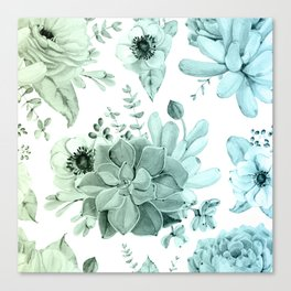Simply Succulent Garden in Turquoise Green Blue Gradient Canvas Print