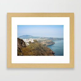 The beautiful white village of Fira, Santorini, Greece. Framed Art Print