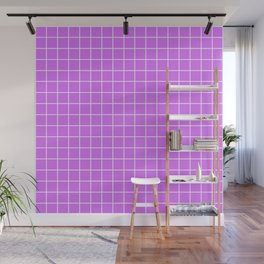 Heliotrope - violet color - White Lines Grid Pattern Wall Mural