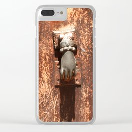 Antique wooden door with hand knockers Clear iPhone Case